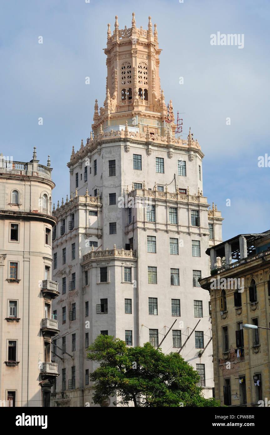 Havanna. Kuba. Kubanische Telefon Firmengebäude (1927) Stockbild