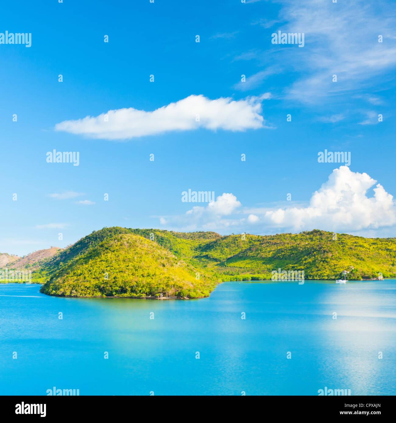 Panorama von einer tropischen Lagune. Coron Insel Stockbild