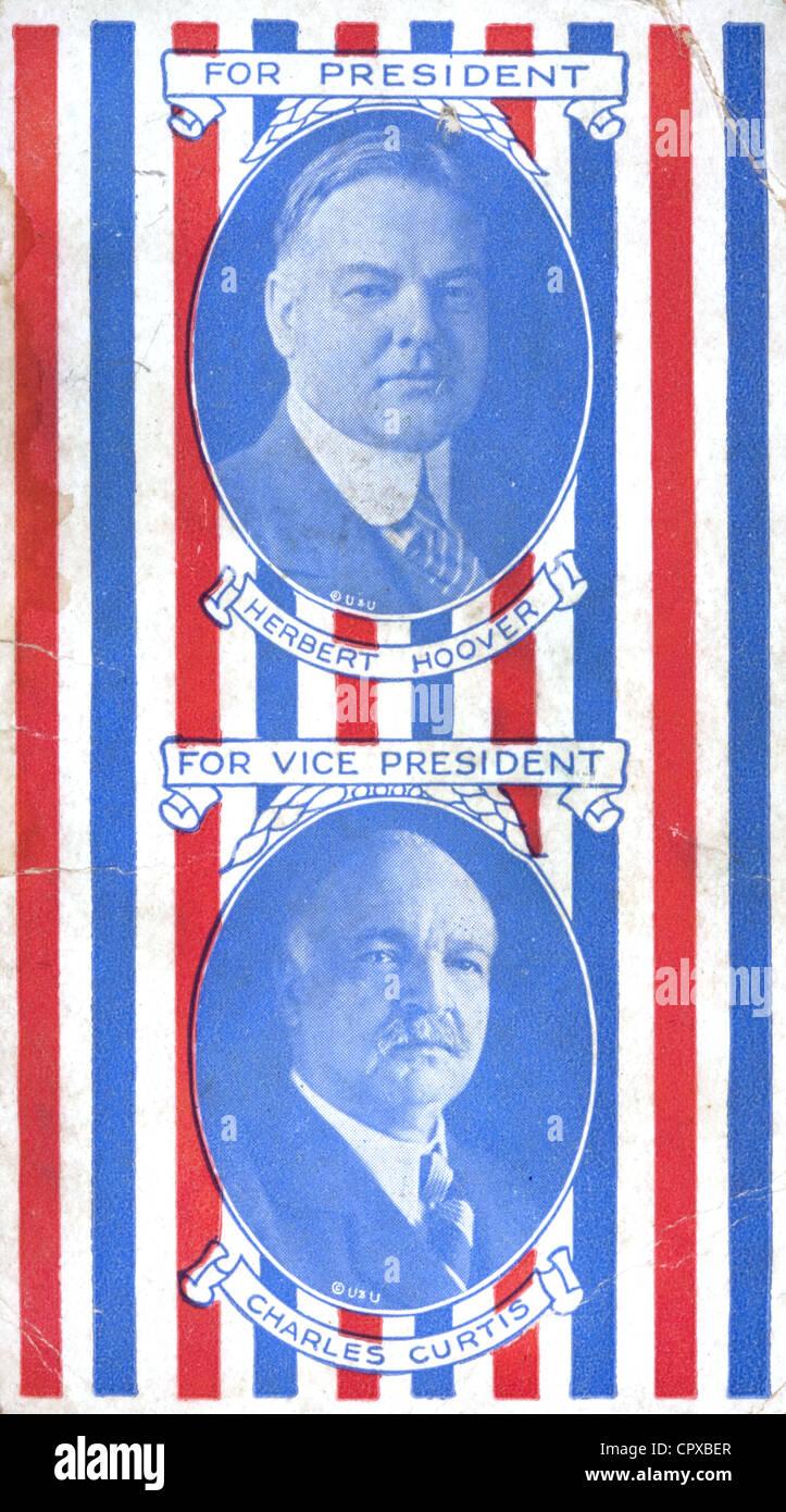 Eine 1928 republikanischen Notiz-Karte mit den Porträts der amerikanischen Präsidenten Herbert Hoover Stockbild