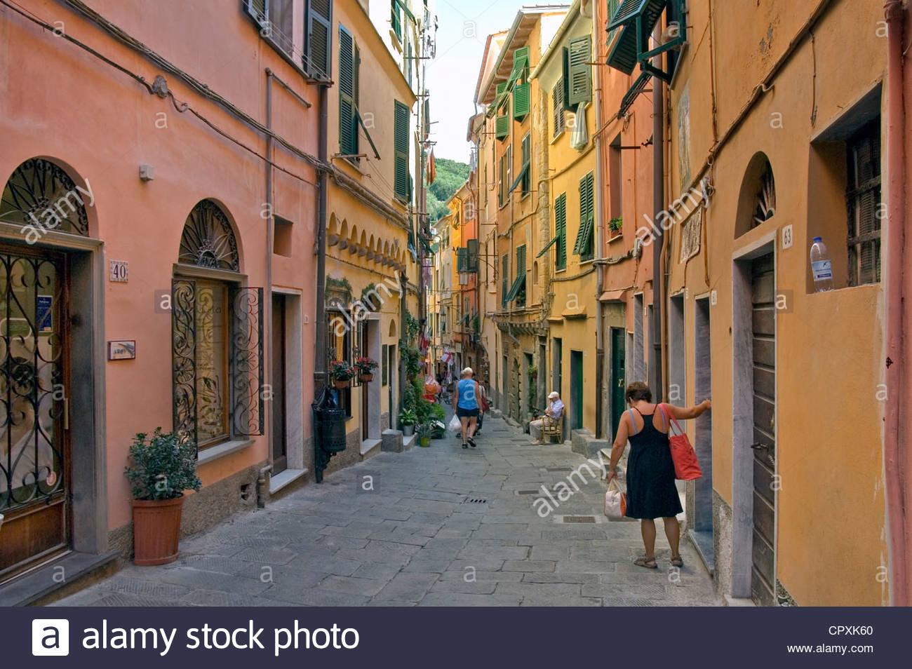 Alte Stadt Portovenere, Ligurien, Nord-West-Italien | Altstadt von Portovenere, Ligurien, Italien Stockbild