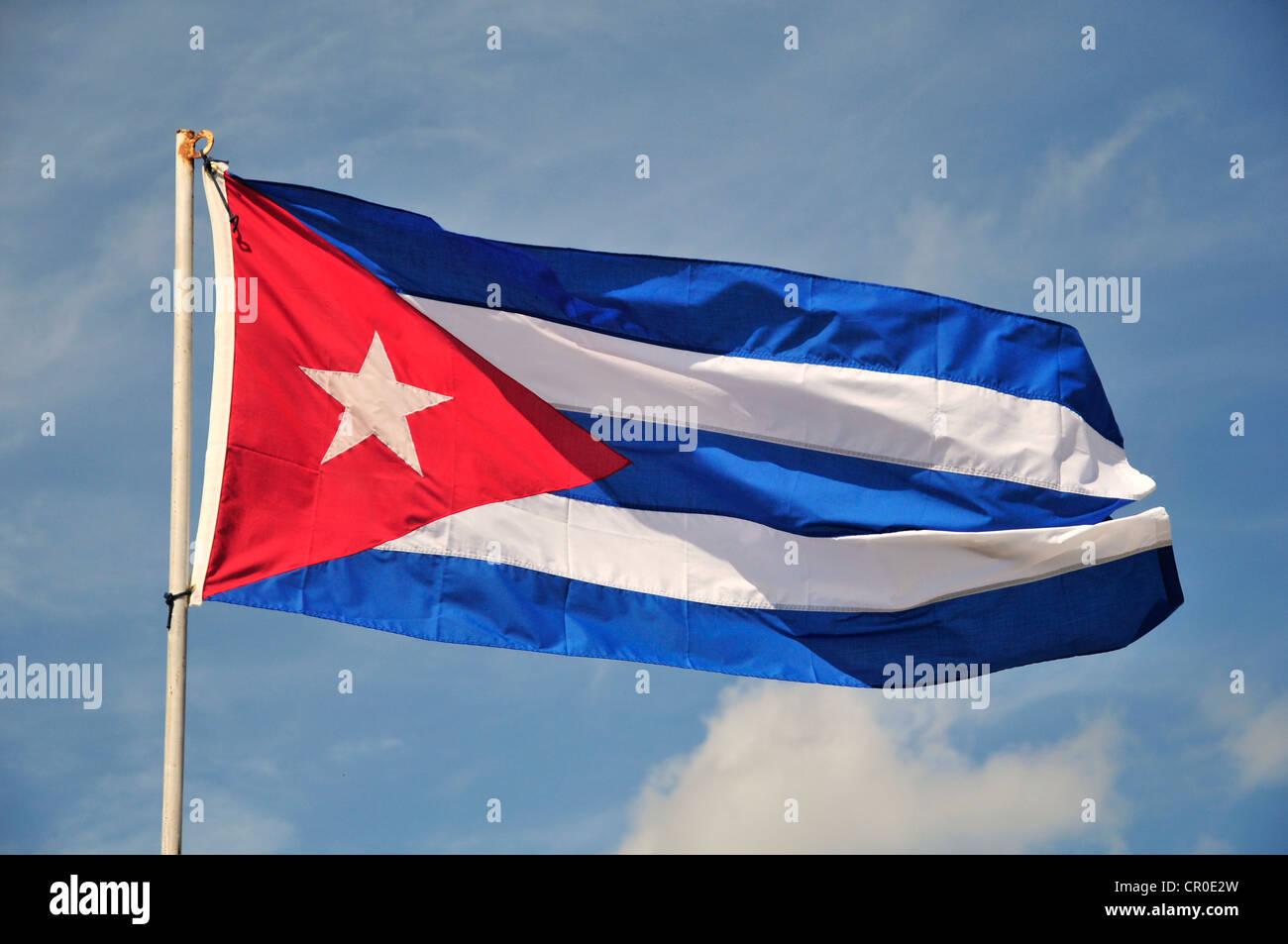 Kubanische Flagge, Havanna, Kuba, Caribbean Stockbild