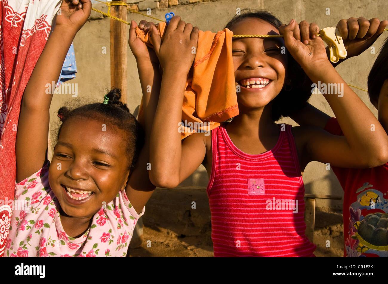 Madagaskar ehemalige Provinz von Toliara Atsimo Andrefana Region South West Coast Sakaraha Mädchen Tania Ceny Stockbild