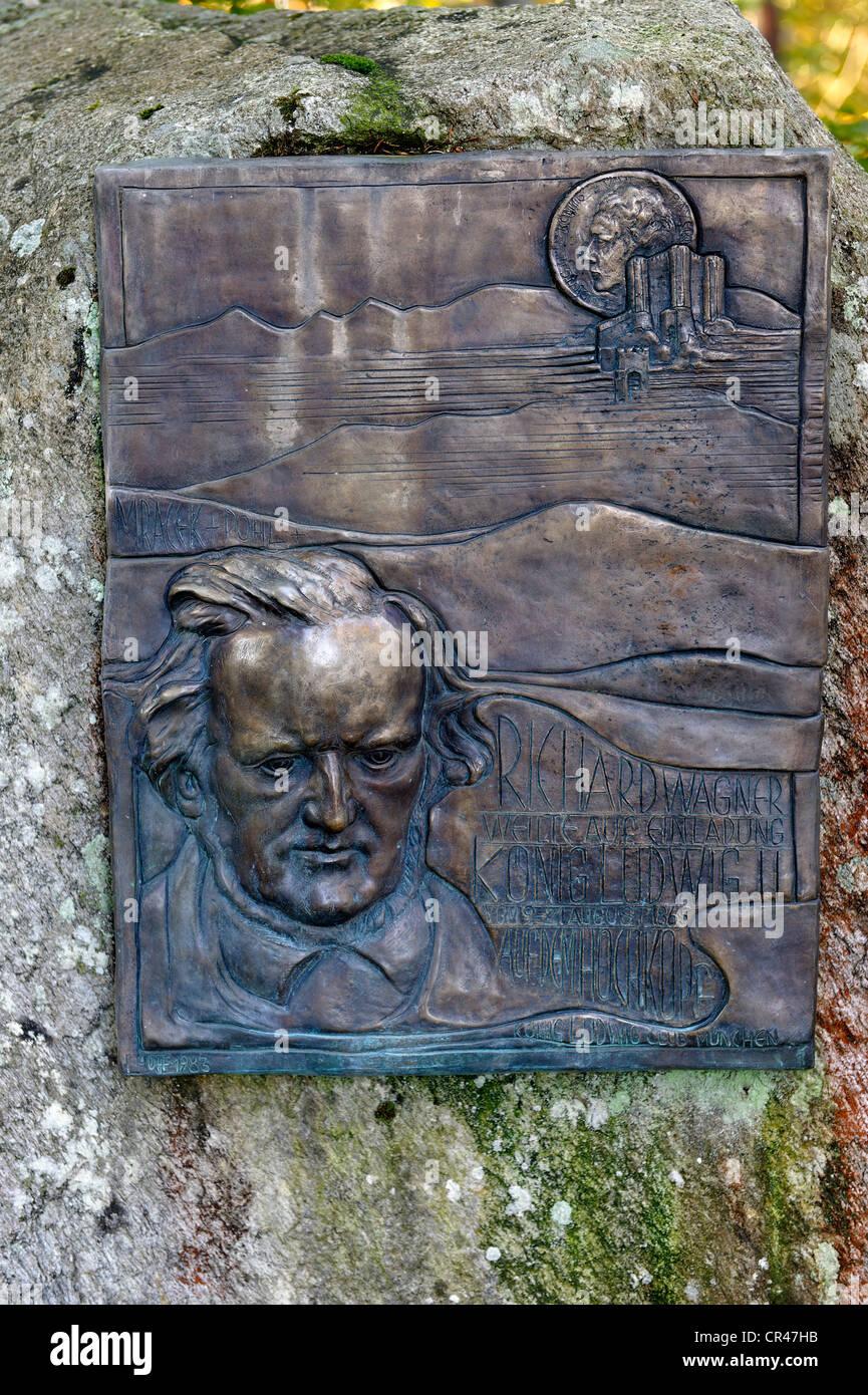 Denkmal für den Komponisten Richard Wagner auf dem Weg zum Altlacher Hochkopf Berg, See Walchensee, Bayern, Stockbild