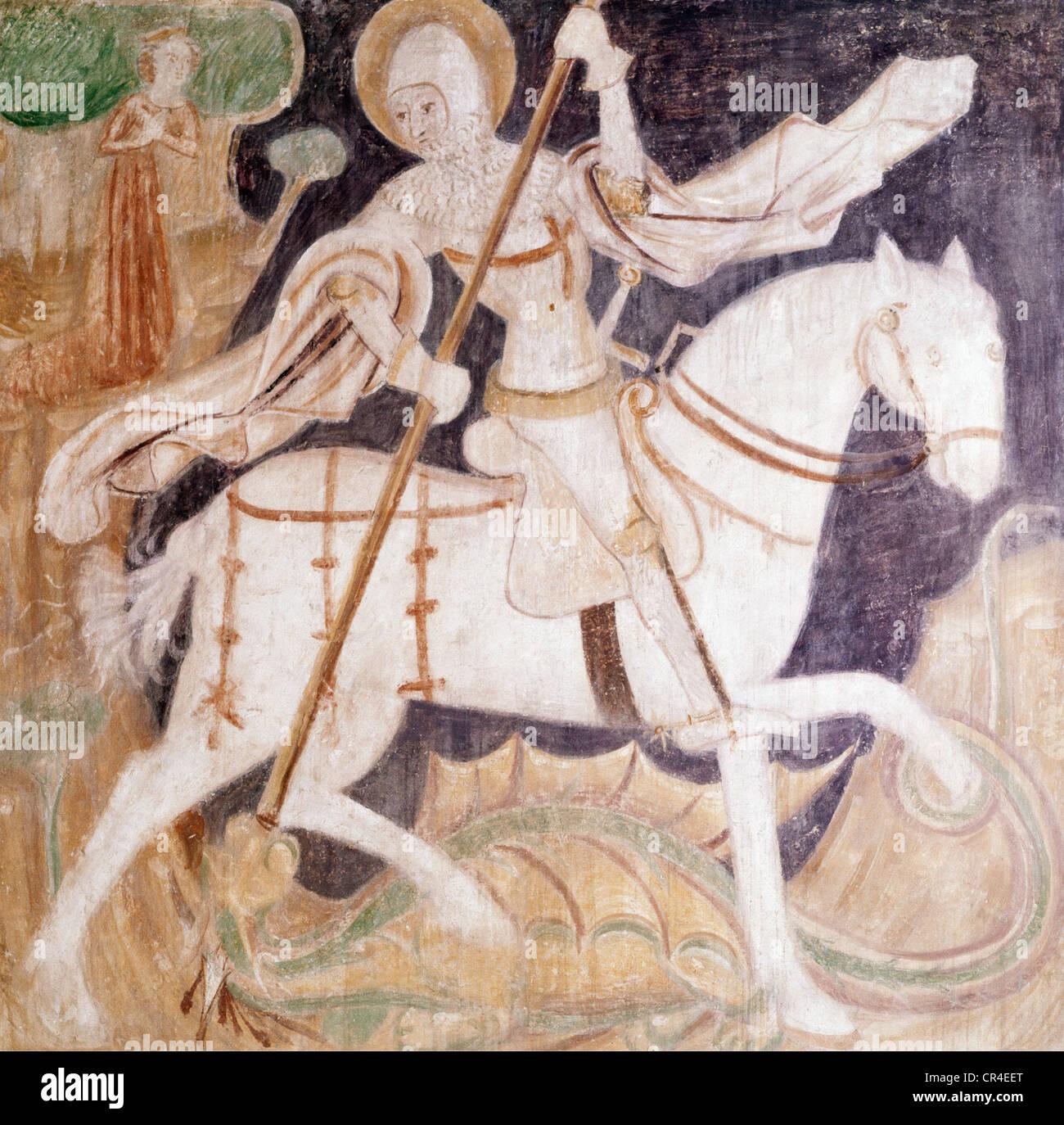 George, Saint, + ca. 303, Märtyrer, heilige Helfer Decke malen, anonym, kämpfen mit dem Drachen kämpfen, Stockbild