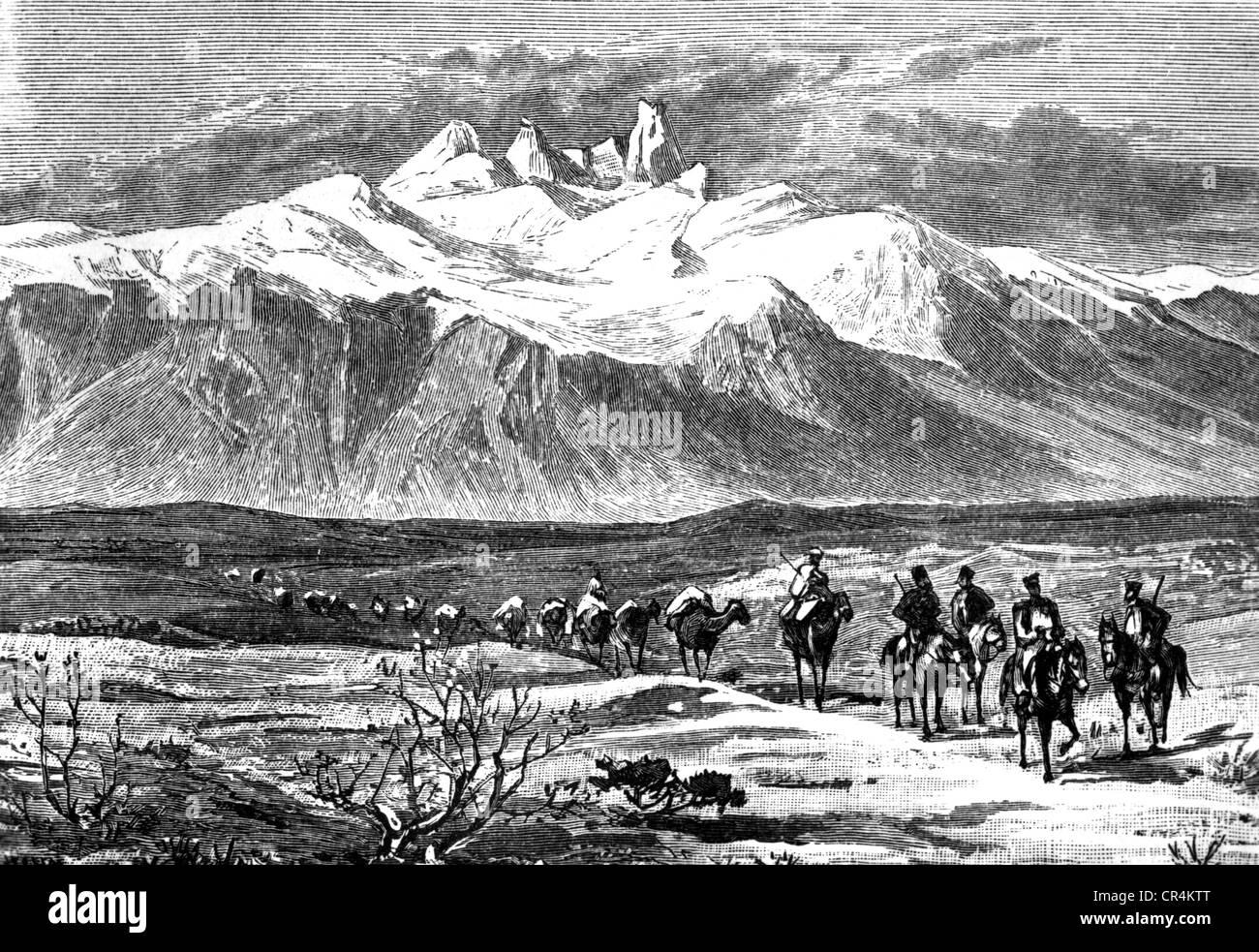 Polo, Marco, 1254 - 8.1.1324, venezianischer Kaufmann, Reisender, auf der Seidenstraße, Ciandu, Holzschnitt, Stockbild