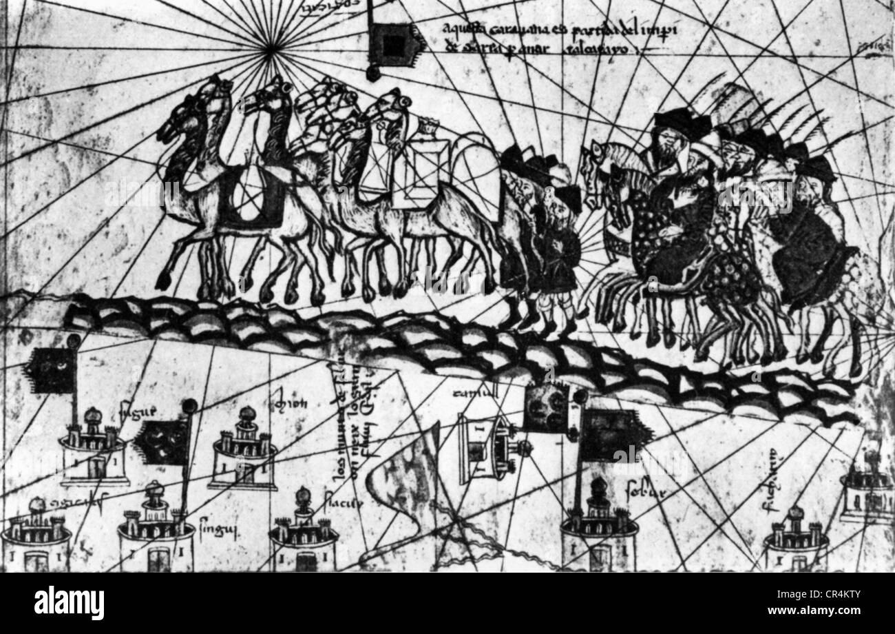 Polo, Marco, 1254 - 8.1.1324, venezianischer Kaufmann, Reisender, auf dem Weg nach Cathay, aus der katalanischen Stockbild