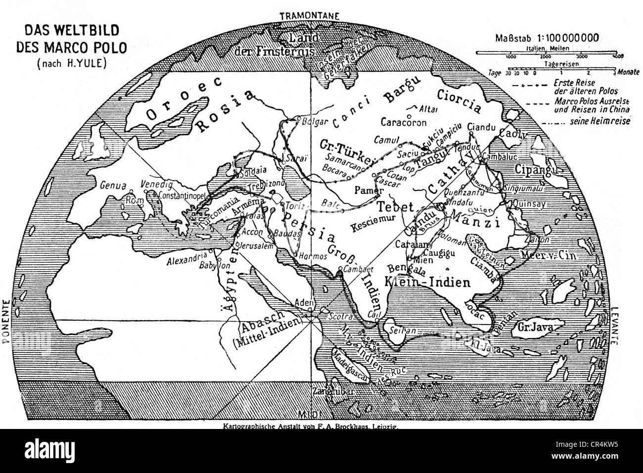 Polo, Marco, 1254 - 8.1.1324, venezianischer Händler, Reisender, Reiseroute von Mark Polo, zeitgenössische Stockbild