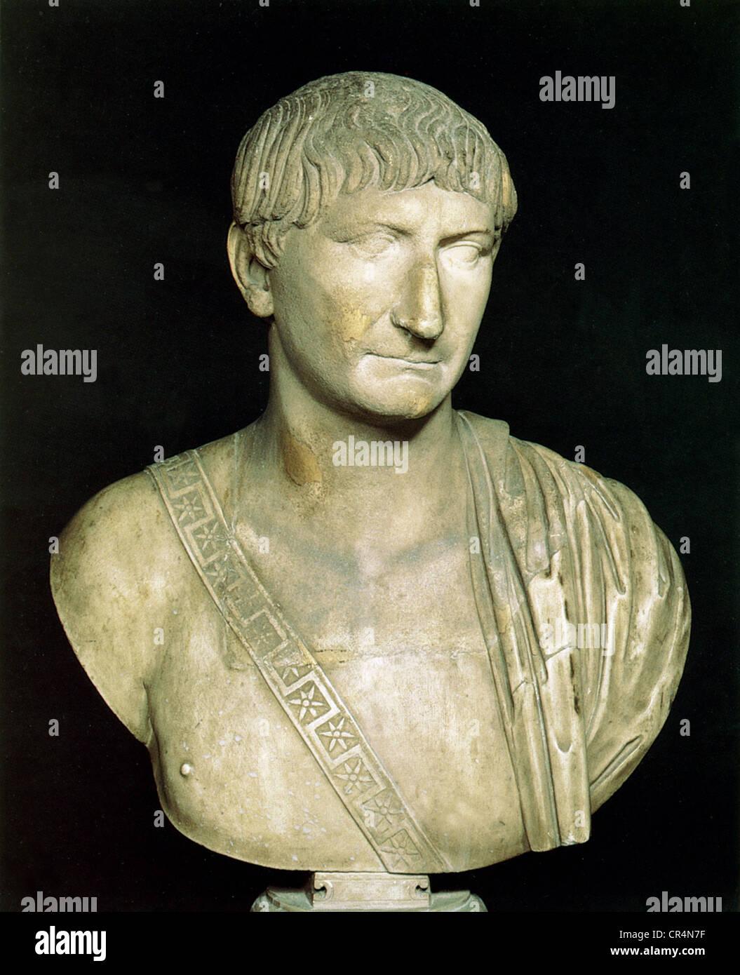 Trajan (Marcus Ulpius Traianus), 18.9.53 - 8.8.117, römischer Kaiser 27.1.98 - 8,8117, Porträt, Büste, Stockbild
