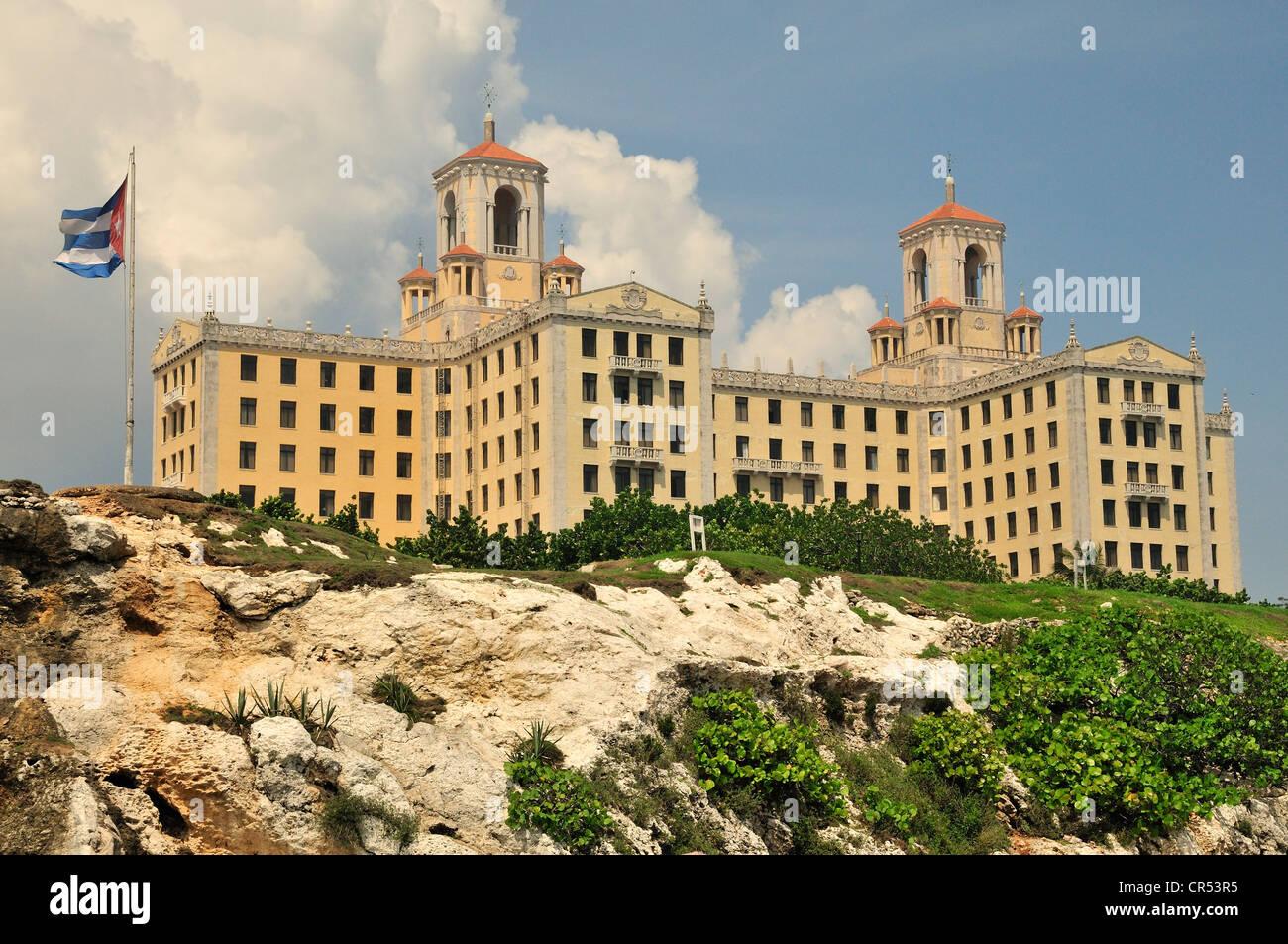 Hotel Nacional oder Hotel Gran Caribe, am Malecón Esplanade, Havanna, Kuba, Karibik Stockbild