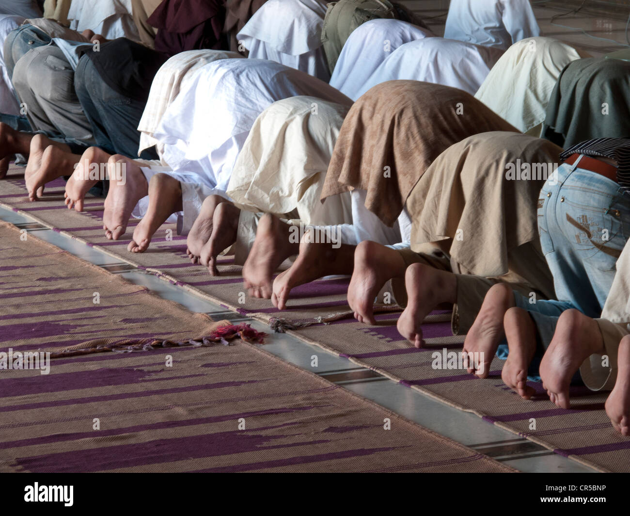 Muslime beten in Jama Mashid in Lahore, einer der größten Moscheen in Asien, Punjab, Pakistan, Südasien Stockbild