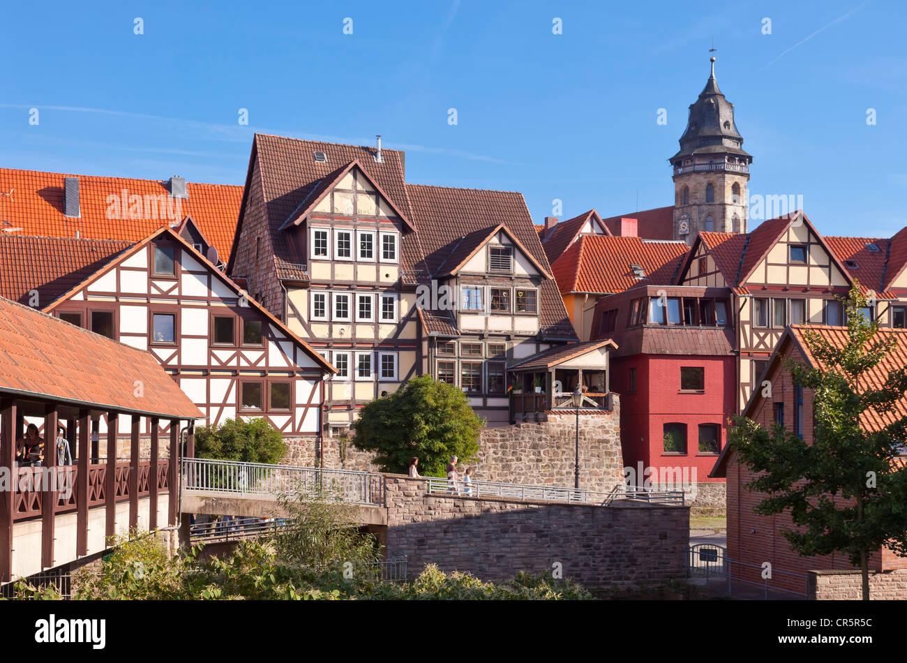 Altstadt mit St.-Blasius-Kirche, Hannoversch Muenden, Niedersachsen, Deutschland, Europa Stockbild