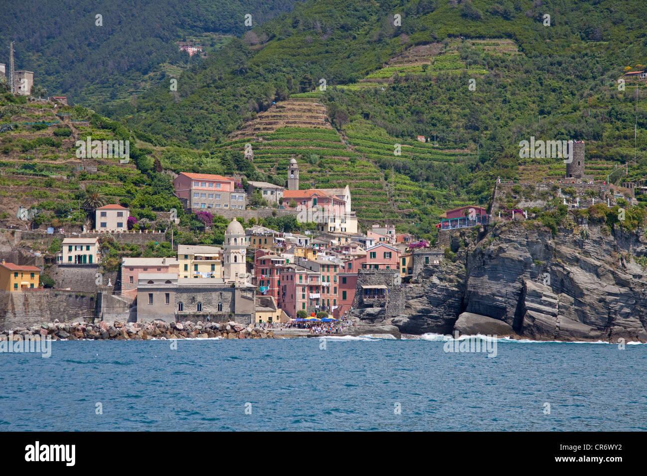 Fischerdorf, Cinque Terre, Provinz La Spezia, Parco Nazionale Delle Cinque Terre Nationalpark, UNESCO-Weltkulturerbe Stockbild