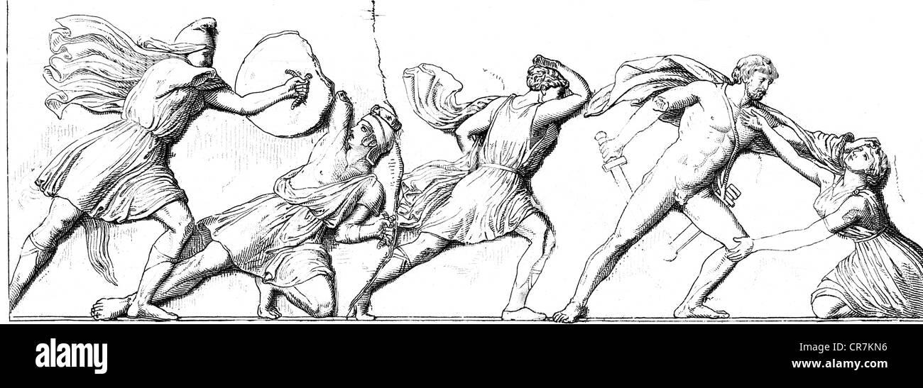 Amazonen, griechischen Sagengestalten, Kampf zwischen Griechen und Amazonen, Relief, Fries des Grabes von Maussolos, Stockbild