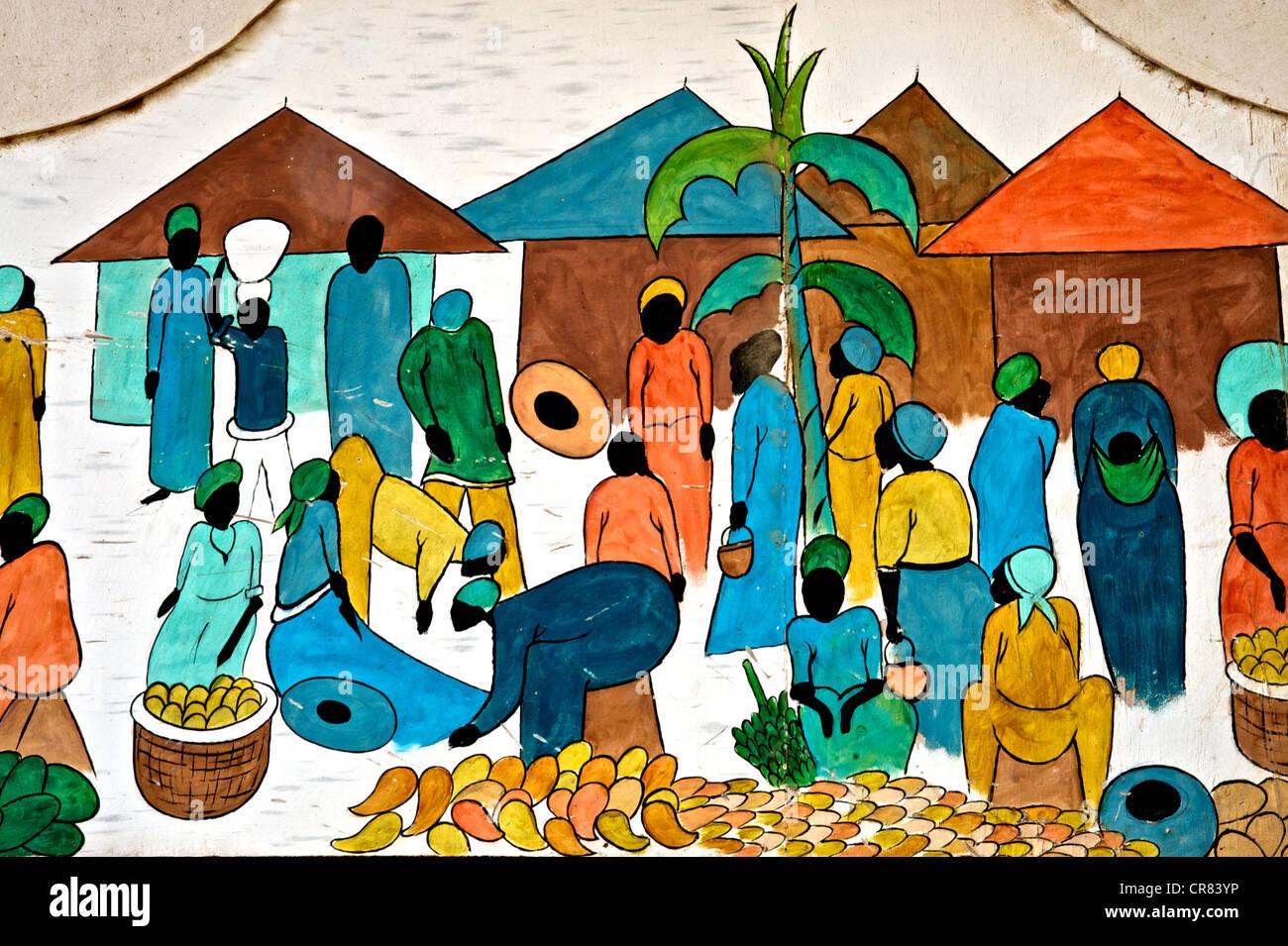 Künstlerischen Detail der bunte Zeichnung das afrikanische Leben Stockfoto