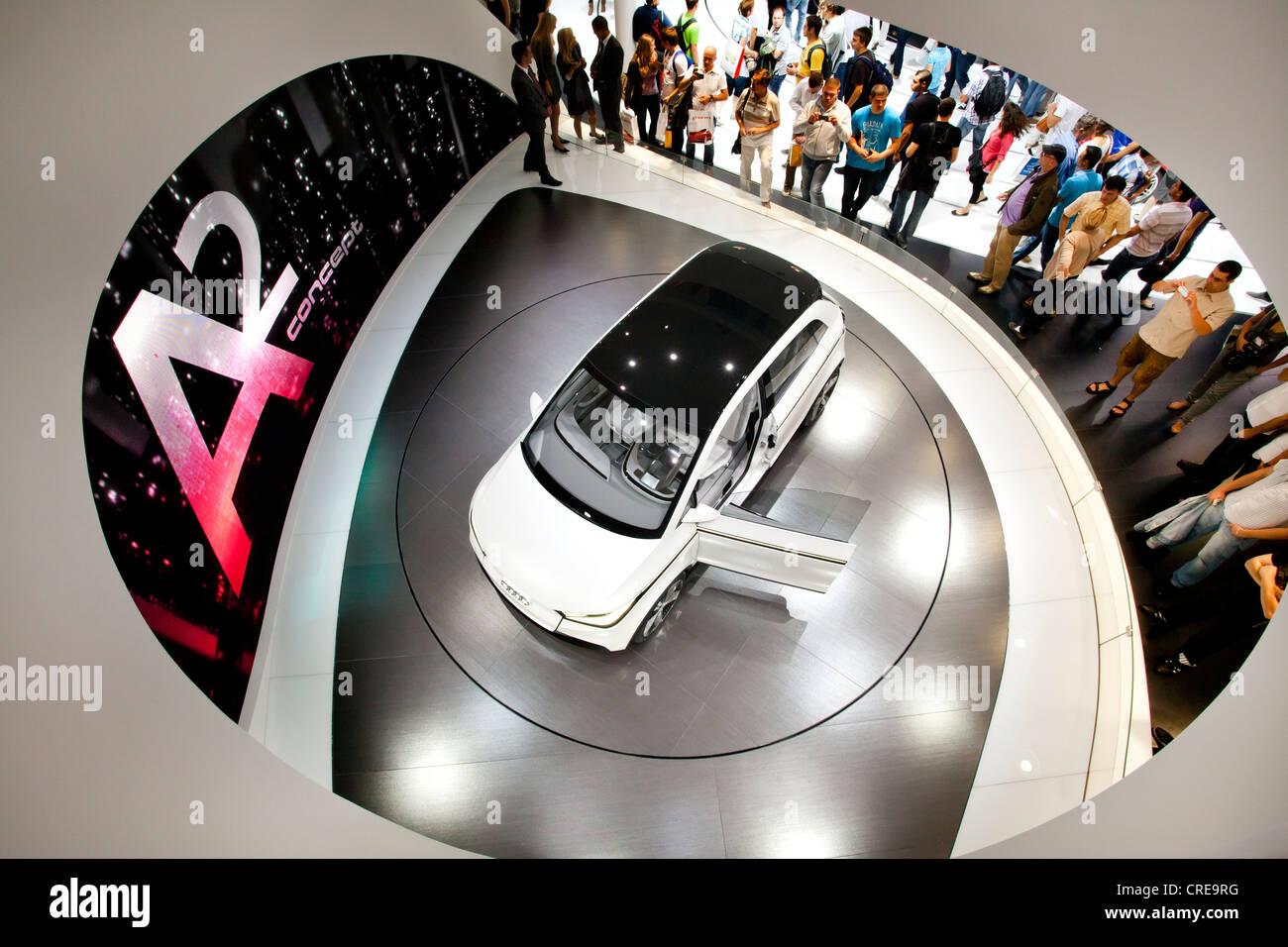 Studie und Welt-premiere des Begriffs Audi A2, Audi AG, 64. Internationalen Automobilausstellung, IAA 2011, Frankfurt Stockbild