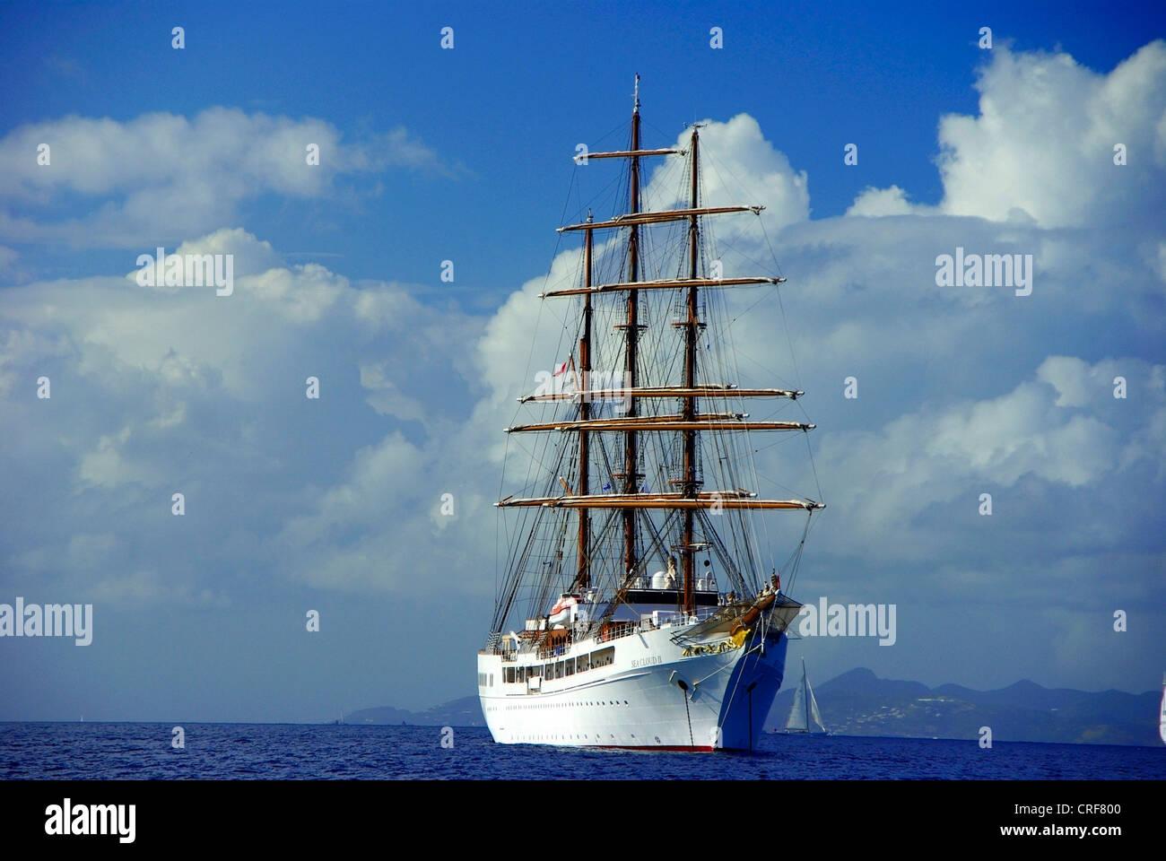 Sea Cloud II, Franzoesiche Antillen, Karibik, Saint Barthelemy Stockbild
