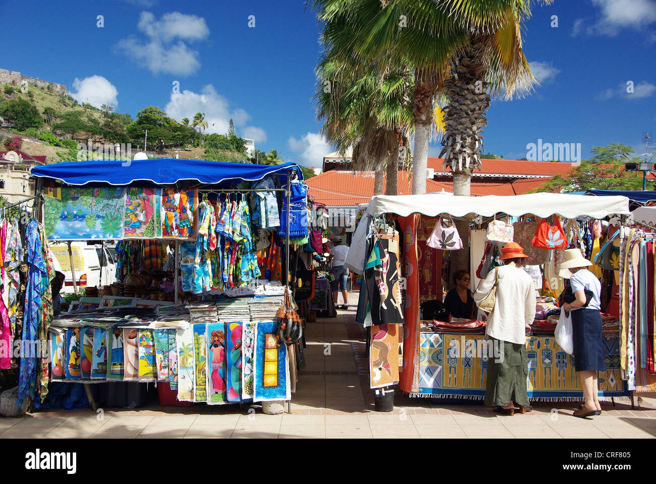Marigot Freiluftmarkt, Franzoesische Antillen, Karibik, Saint-Martin Stockbild