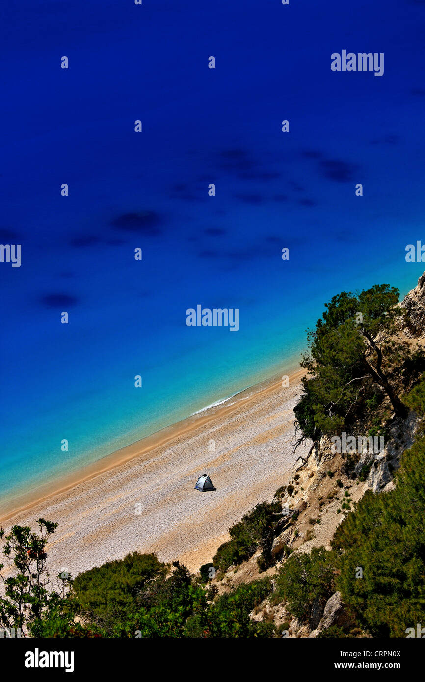 "Weltberühmten Egremni Strand, Lefkada (oder ""Lefkas"") Insel, Griechenland, Ionisches Meer, Nordteil Stockbild"