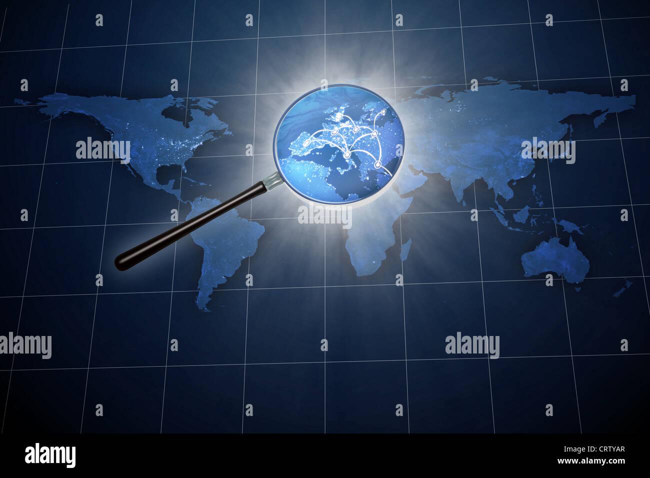 Lupe über die Weltkarte - Europa zoom Stockbild
