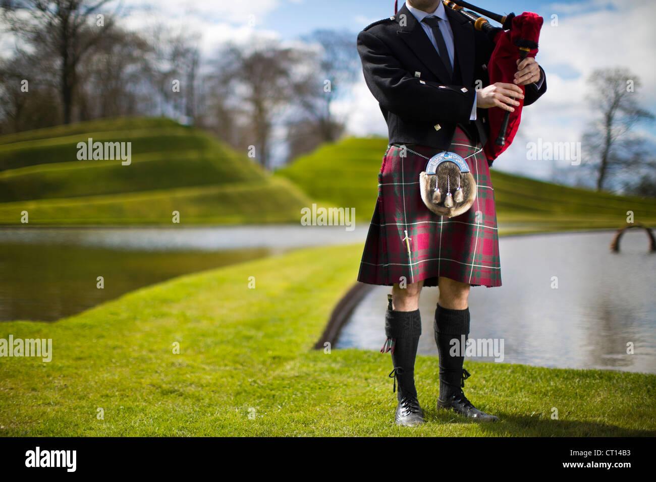 Mann im schottischen Kilt, Dudelsack Stockbild
