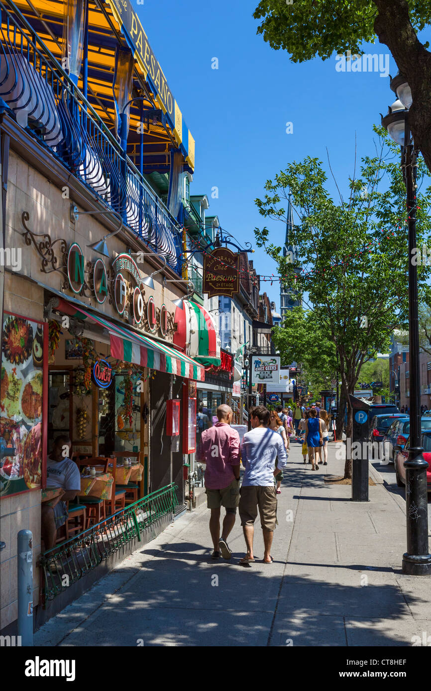 Bars, Cafés und Restaurants entlang der Rue Saint-Denis in das Quartier Latin (Quartier Latin), Montreal, Quebec, Stockbild