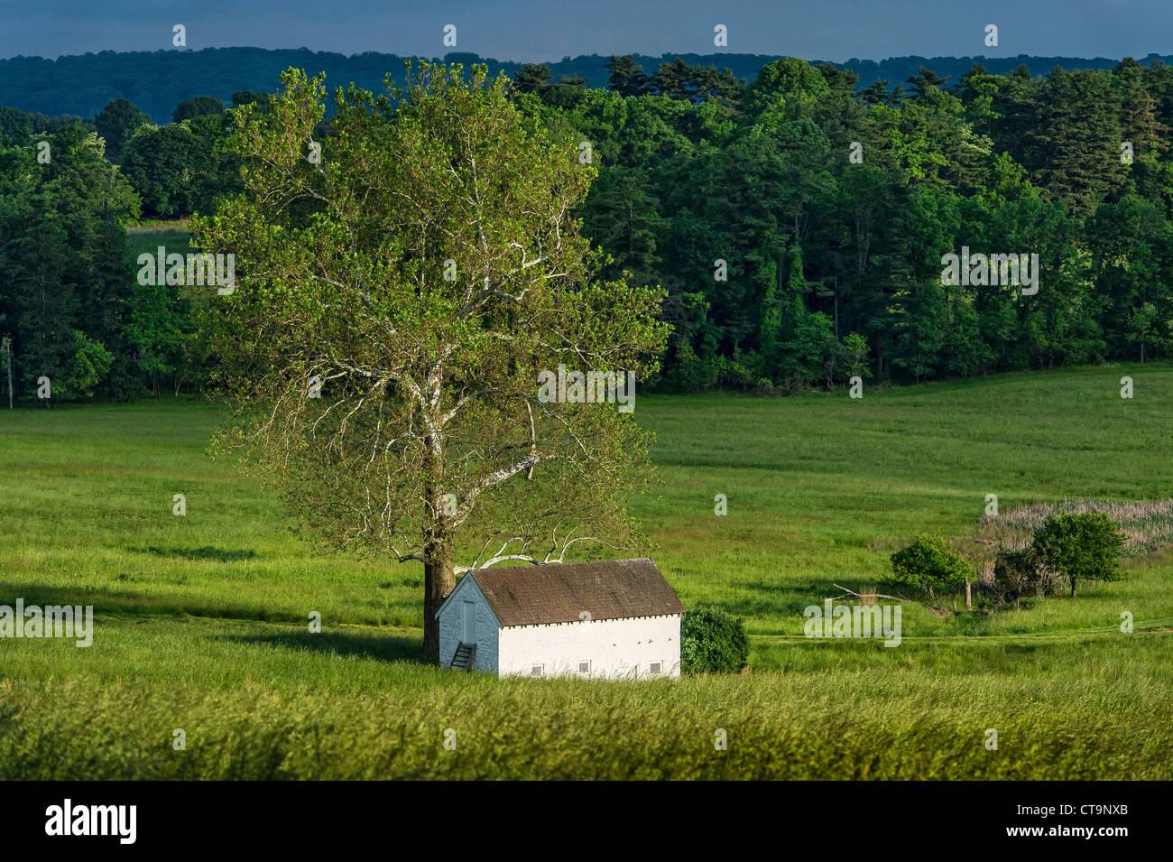Ländliche Quellenhaus in üppigen pastorale Landschaft, Chester County, Pennsylvania, USA Stockbild