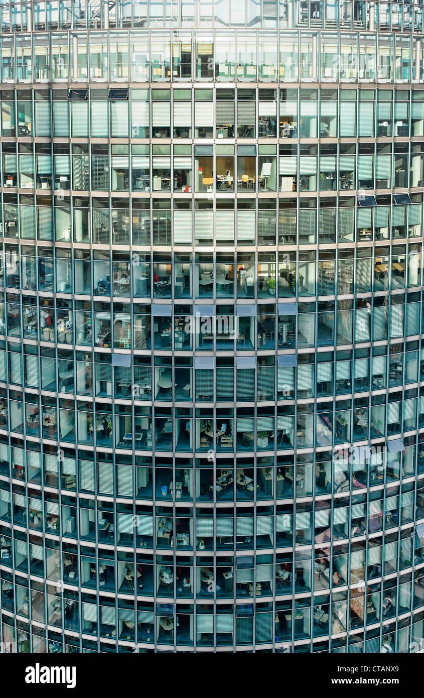 Aussehen der Kollhoff-Tower, Deutsche Bahn Tower, Potsdamer Platz, Berlin, Deutschland, Europa Stockbild