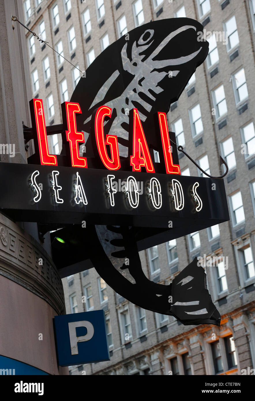 Legal Seafoods Restaurant Neon Sign, Boston, Massachusetts Stockbild