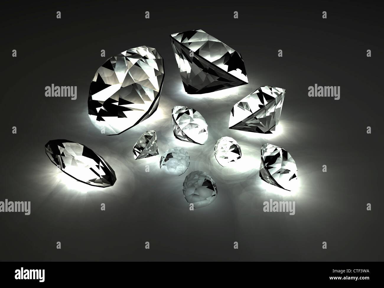 Vielzahl von geschliffenen Edelsteinen Stockbild