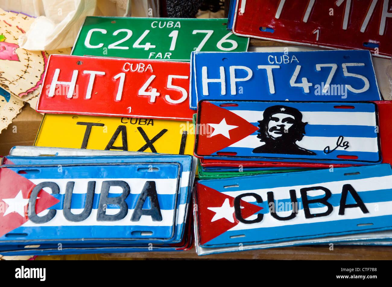 Kubanische Kfz-Kennzeichen, Trinidad, Kuba Stockbild