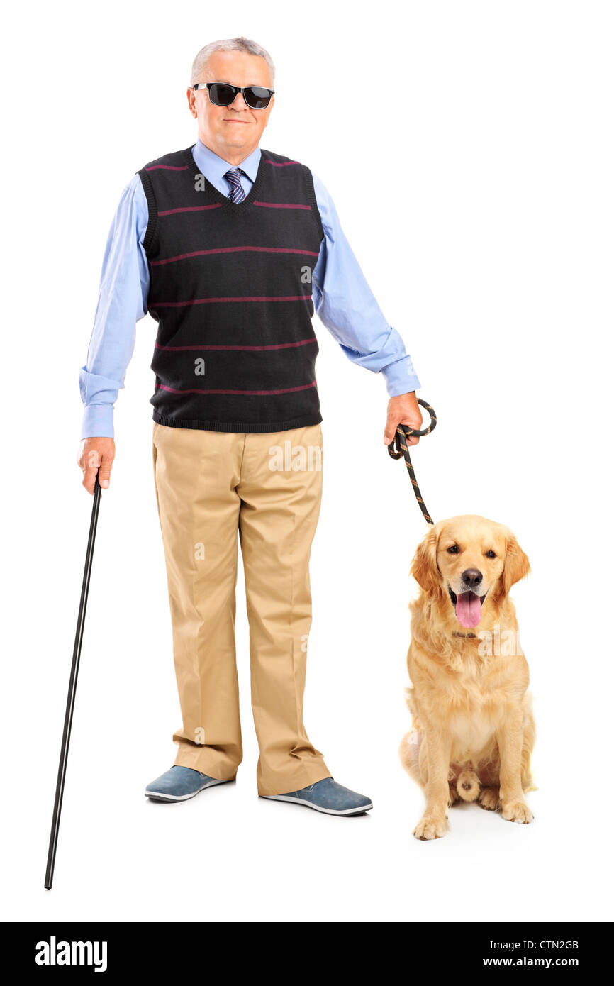 In voller Länge Portrait von einer blinden Person hält einen Wanderstock und ein Hund isoliert auf weißem Stockbild