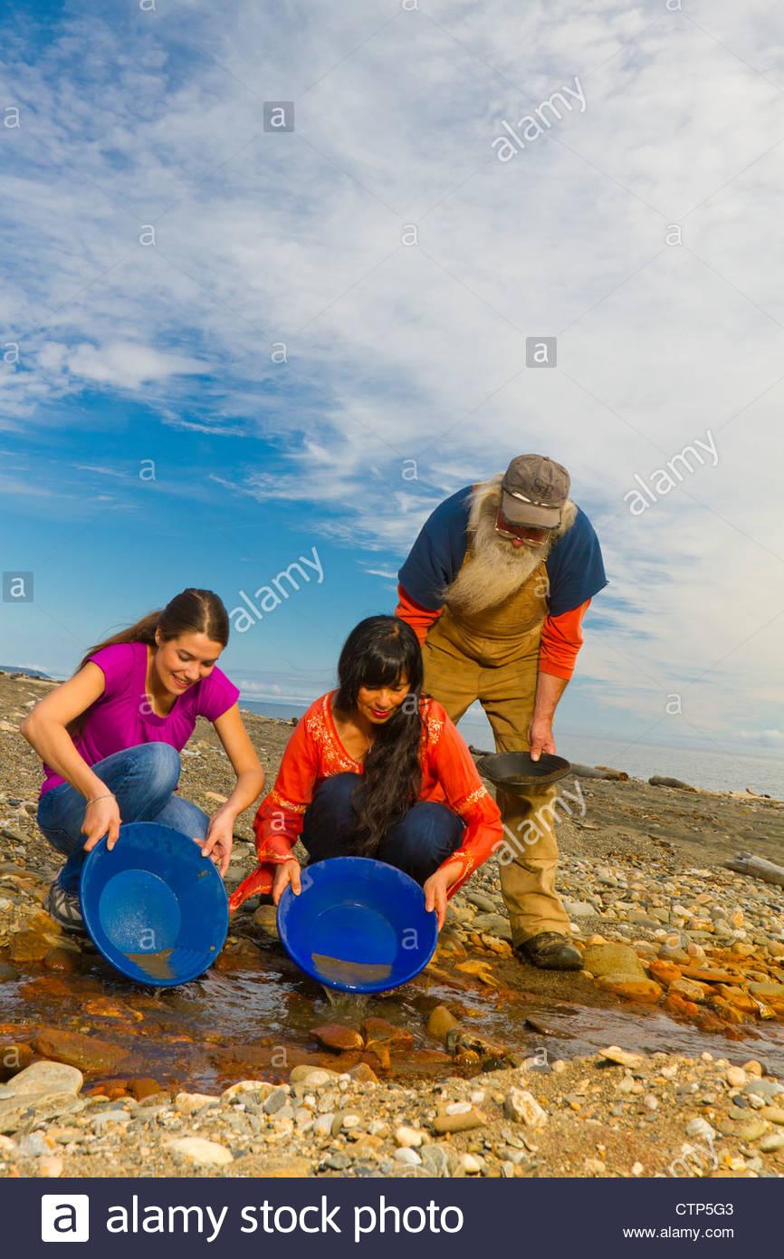Lokale Übersicht Lehre Besucher wie Gold in der Nähe von Nome, Alaska Arktis, Sommer pan Stockbild