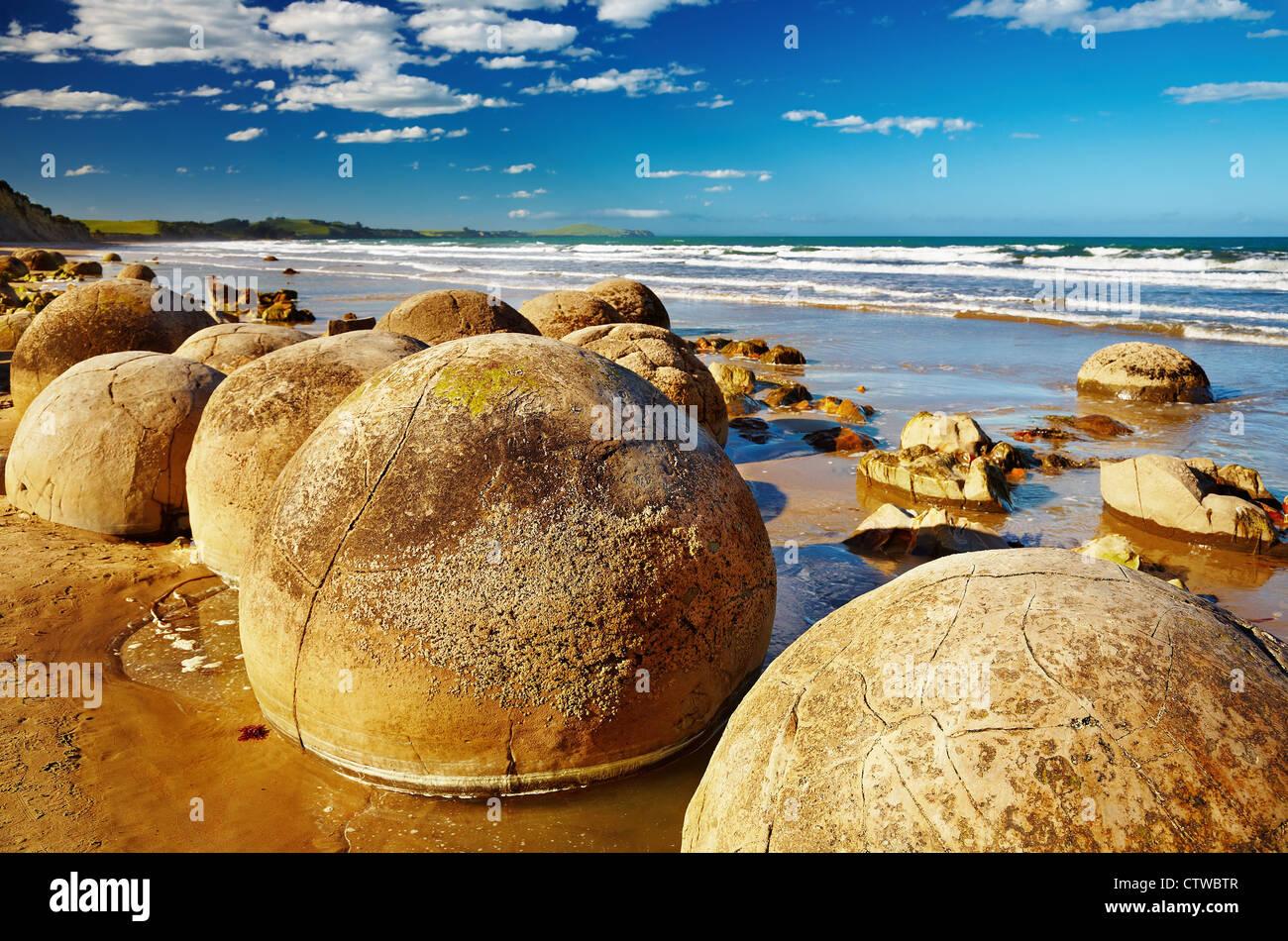 Berühmte Moeraki Boulders, Südinsel, Neuseeland Stockbild
