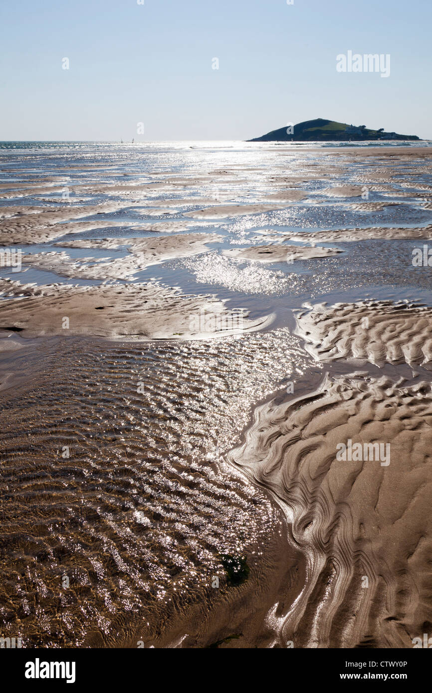 Sand-Muster und die Flut an Größe, Devon Stockbild