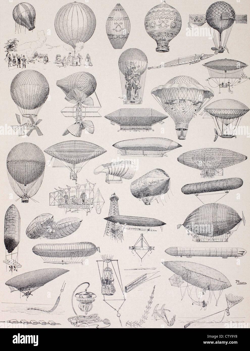 Heißluftballons im Laufe der Geschichte... Stockbild