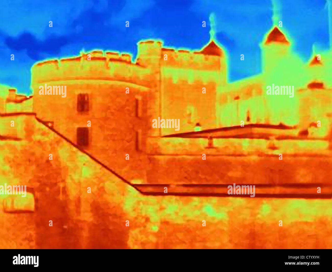Wärmebild der Tower of London Stockbild