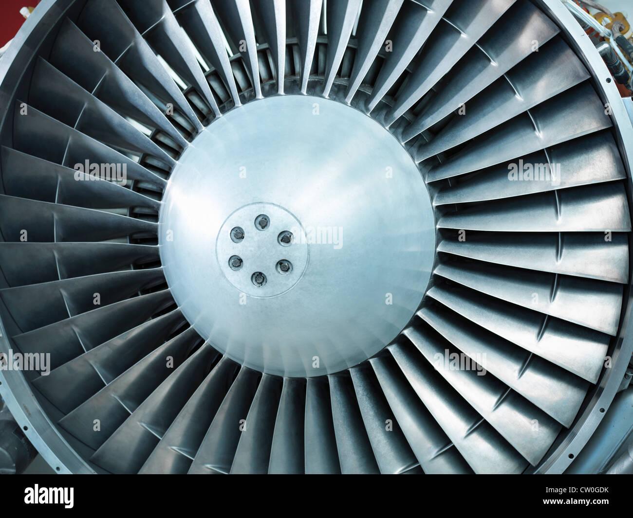 Nahaufnahme eines noch Flugzeug Düsentriebwerk Stockbild