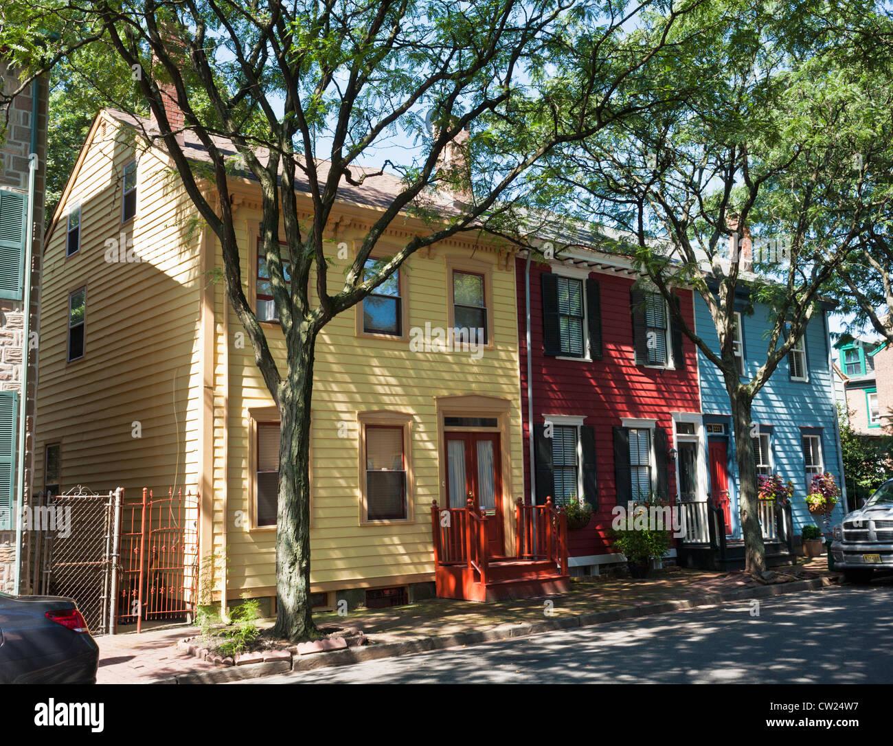 Bunte Häuser, Mill Hill Viertel von Trenton, New Jersey Stockbild