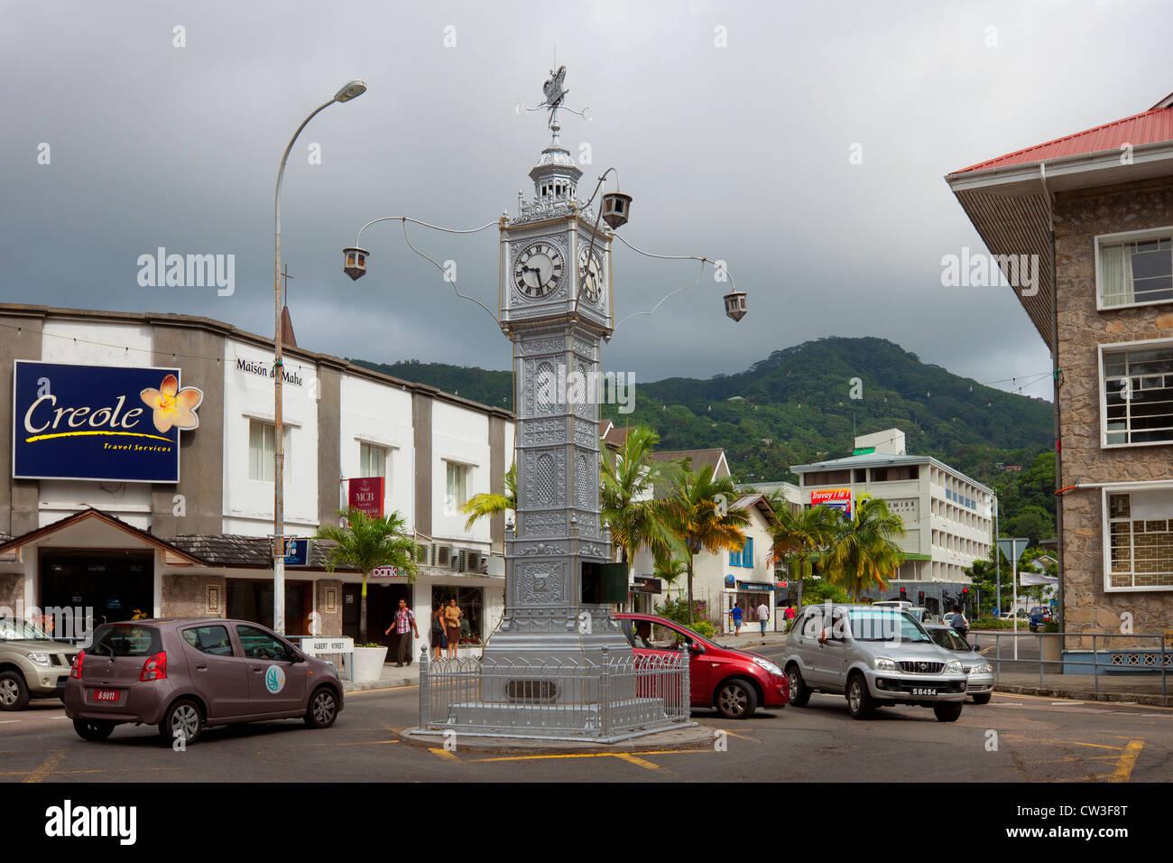 Ein Uhrturm in Victoria, Mahe, Seychellen Stockbild
