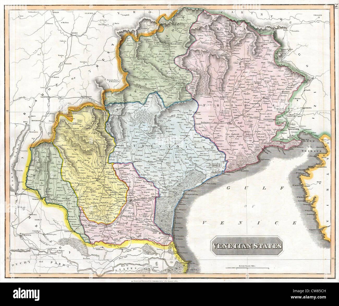 1814 Thomson Karte der venezianischen Staaten (Venedig), Italien Stockbild