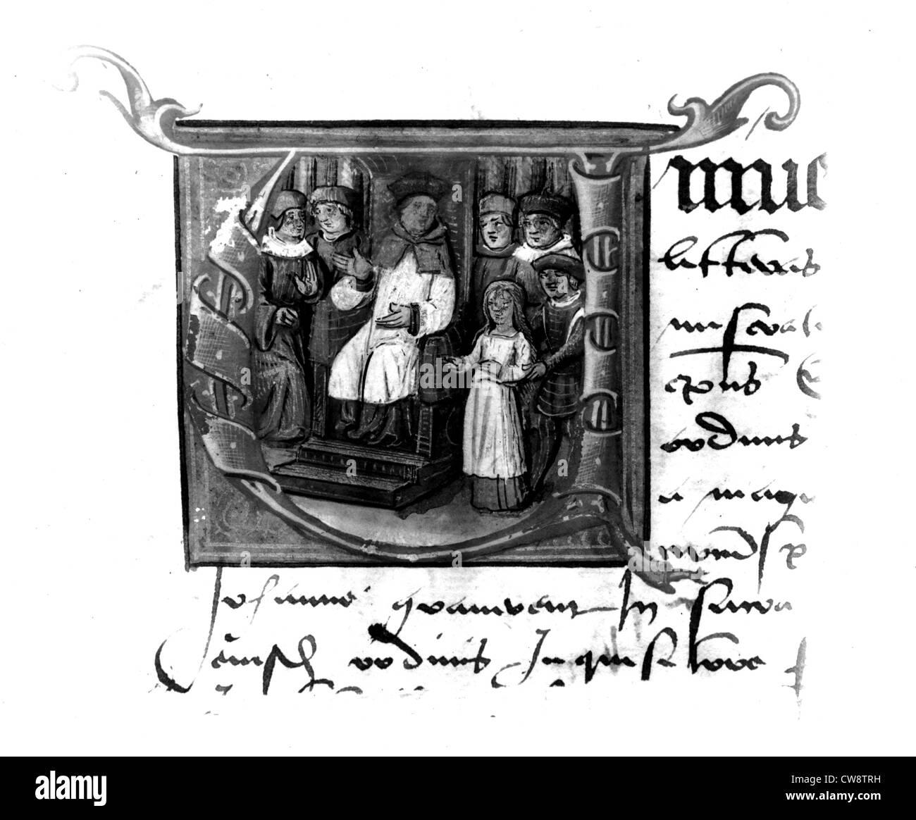 Anonyme lateinische Handschrift, Joan of Arc trial Stockbild