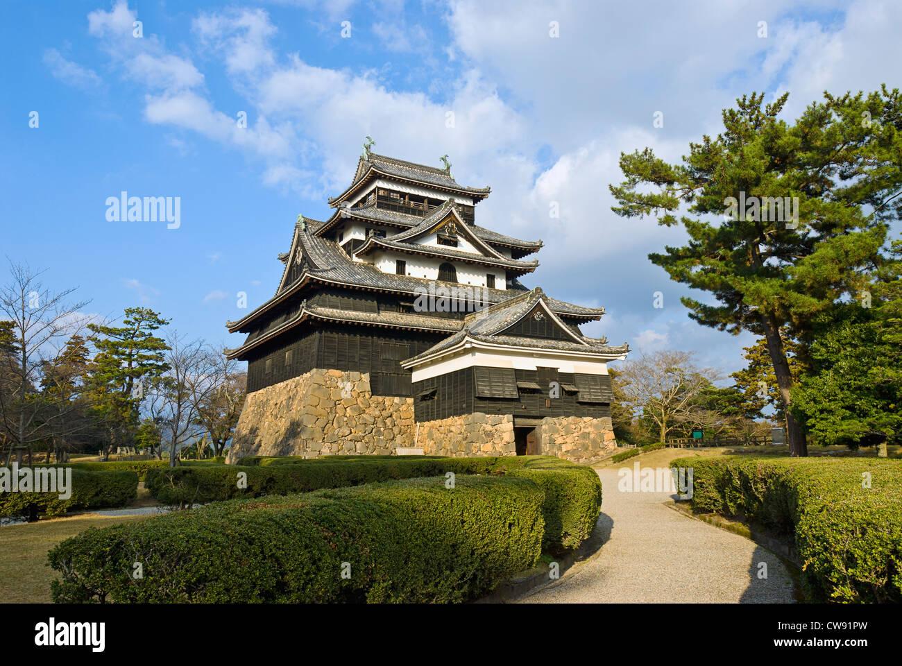 Burg Matsue, Präfektur Shimane, Japan. Mittelalterliche Burg aus Holz gebaut, c. 1622. Stockbild