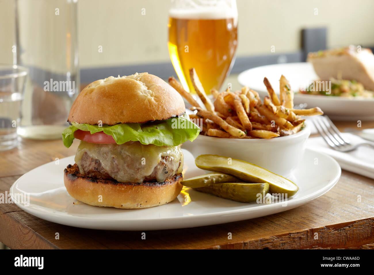 Burger und Pommes frites Stockbild