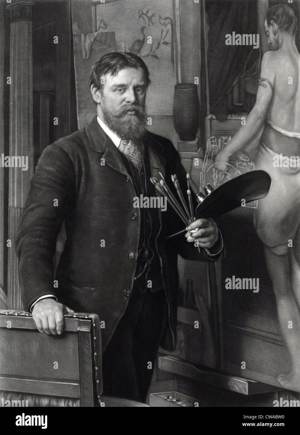 Sir Lawrence Tadema (1836-1912), in seinem Atelier.  Er malte realistische Szenen der alten Geschichte, mit außergewöhnlichem Stockbild