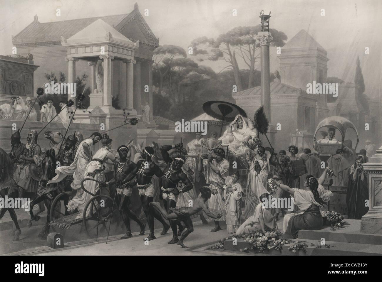 Antike Rom, die Via Appia Via Appia, Italien, Kupferstich um 1880. Stockbild