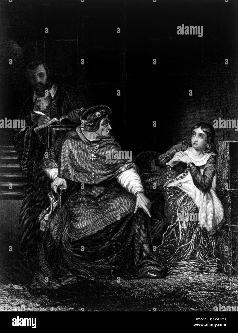 Joan of Arc im Gefängnis (1431), Stich nach Gemälde von Paul Delaroche, 1882 Stockbild