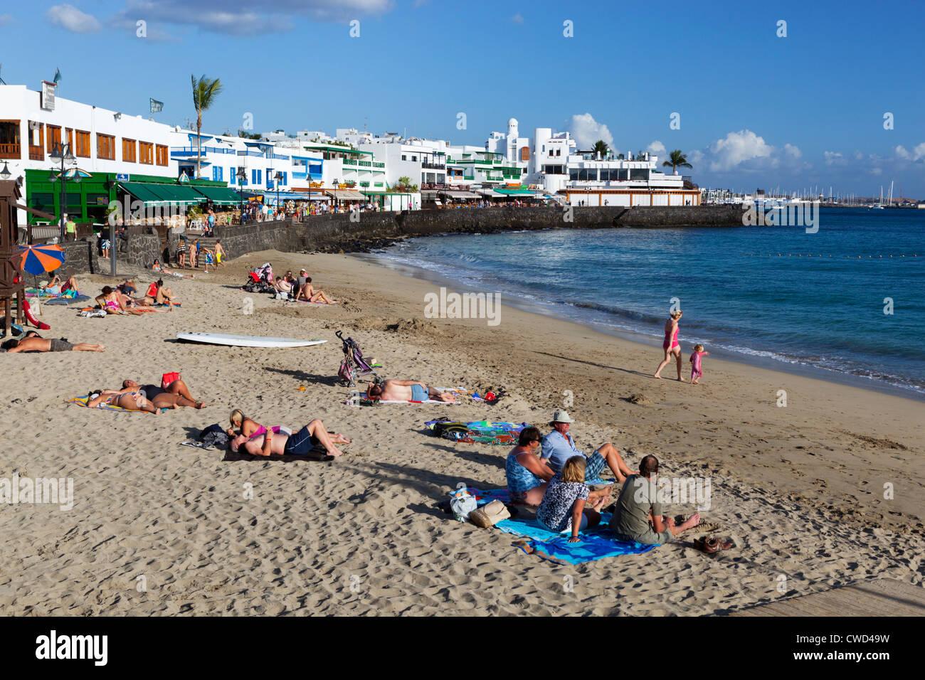 Blick auf den Strand Stockbild