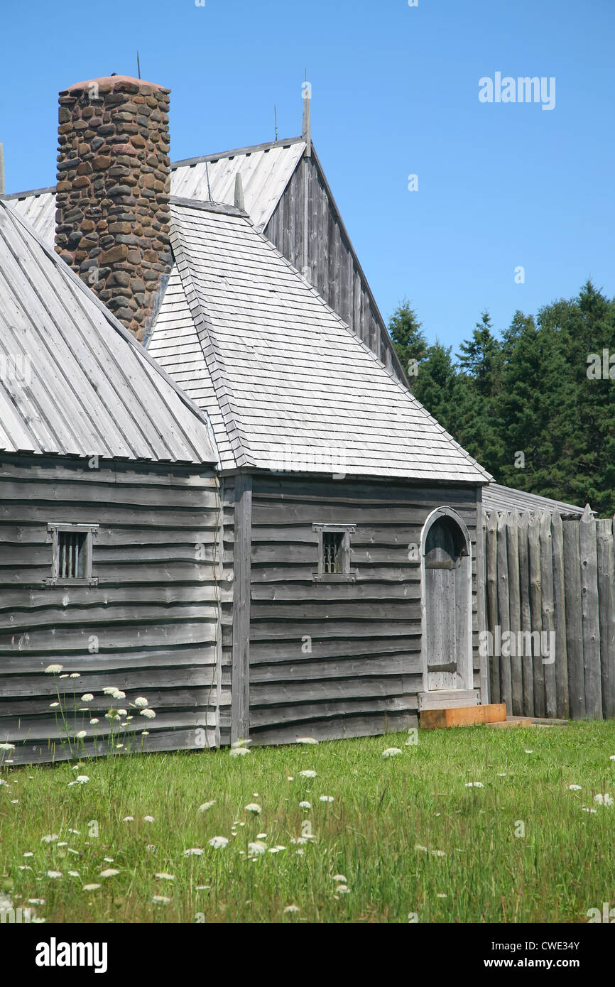 Eine Rekonstruktion der ursprünglichen Port Royal Habitation (1605) in Annapolis Valley of Nova Scotia. Stockbild