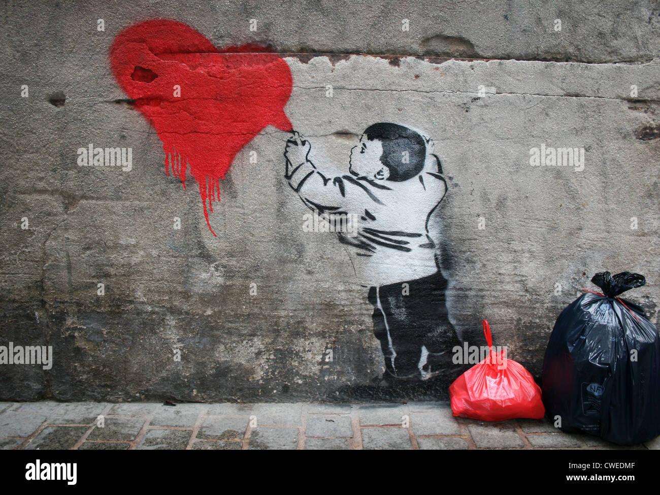 Herz, Spritzen, Graffiti, streetart Stockbild