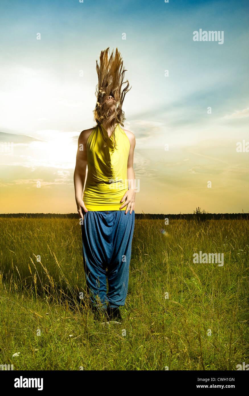 junge Frau, Individualität, Einzigartigkeit, Mode Stockfoto